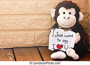 I love you - A monkey with the message I love you