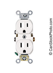 Electrical outlet on white - A white electrical power outlet...