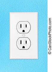 Light switch on blue wall - A modern toggle electrical light...