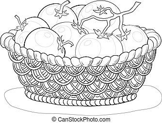 Basket with tomatoes, contours - Vector, wattled basket with...