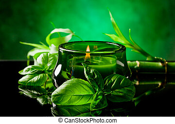 Candle with basil flavr