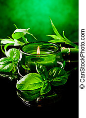Candle with basil flavor - photo of candle with basil...