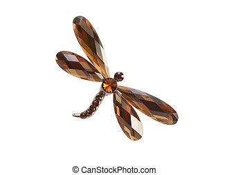 Brooch As Dragonfly - Nice brooch as dragonfly isolated on...