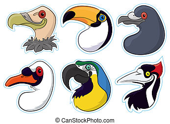 Birds 2 - A series of magnet like stickers of birds heads