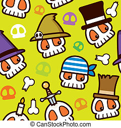 Halloween Pirate Skull Pattern - Illustration of Halloween...
