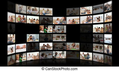 Montage of families in different situations at home