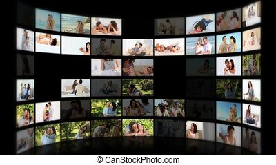 Montage of couples hugging at home and outside