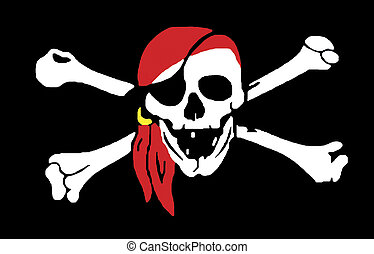 Jolly Rodger pirate flag - Skull and crossbones jolly rodger...