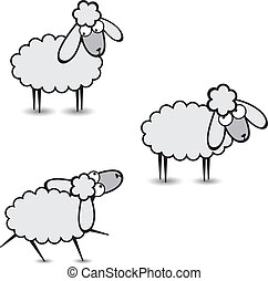 Gray sheep - Three abstract gray sheep Part Two Illustration...