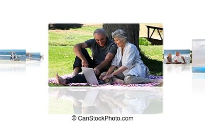 Montage of elderly couples relaxing in the park and on the...