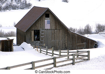 Old Barn With Fence - An old barn with a split-rail wood...