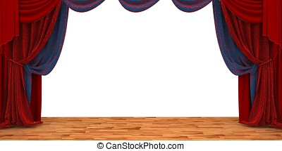 3d theater scene set with red velvet curtains