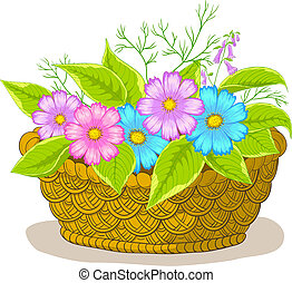 Basket with flowers cosmos - Vector, wattled basket with...