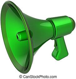 Green megaphone agreement notify - Megaphone communication...
