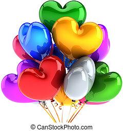 Partido, balões, corações, Multicolor