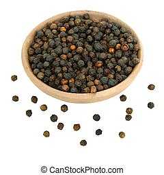 Black Peppercorns in a handmade clay bowl