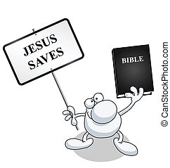 Man bible and Jesus saves sign