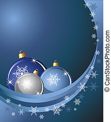 Baubles & snow - Christmas baubles on abstract background...