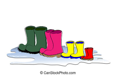 Boots - A row of Welligton boots drying Family sizes,...