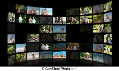 Montage of elderly couples relaxing outdoors