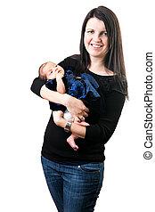 feliz, mamá, tenencia, ella, recién nacido,...