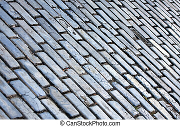 Old San Juan Cobblestone Texture - The famous blue tinted...