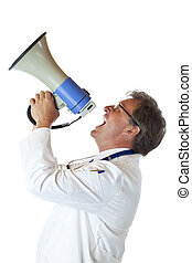 Profile of a resolute doctor screaming loudly in megaphone