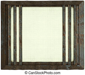 White handmade canvas with metal barred frame isolated