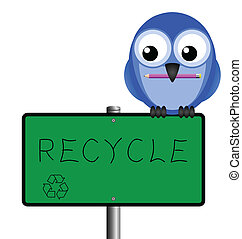recycling message - Bird holding Pencil with hand written...