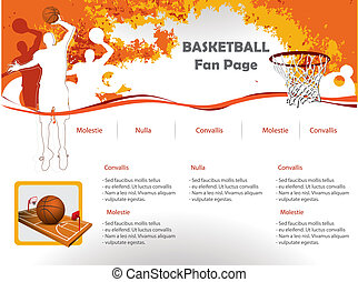 basket-ball, toile, site, conception, Gabarit