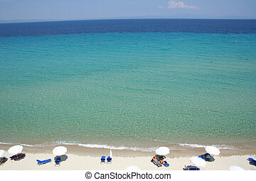 Greece Halkidiki Beach - Greece Halkidiki Umbrellas on the...