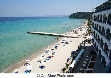 Greece. Halkidiki. Beach - Greece. Halkidiki. Hotel on the...