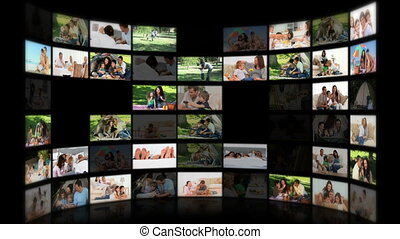 Montage of couples and families relaxing at home and outdoors