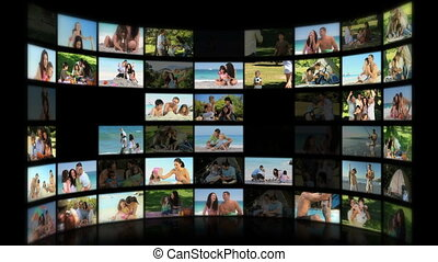 Montage of young adults and their children having fun outdoors