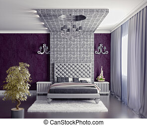 bedroom interior - modern style bedroom interior 3d render...