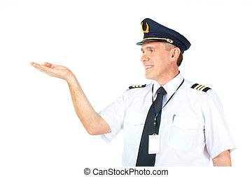 Airline pilot holding hand - Cheerful airline pilot wearing...