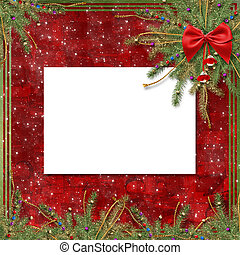 Greeting card for the holiday, with a red ribbon and...