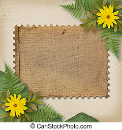 Grunge paper with bunch of flower on the abstract background