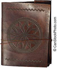 Old leather portfolio isolated with clipping path