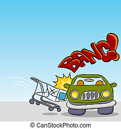 Shopping Cart Damaging Car - An image of a shopping cart...