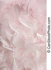 Fluffy pink feathers in sunlight background simple