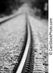 The long straight - A long straight train track heading off...