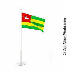 3D flag of Togo isolated on white