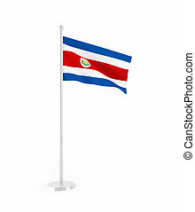 3D flag of Costa Rica isolated on white