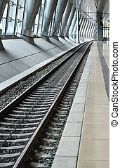 Railway perspective in a station