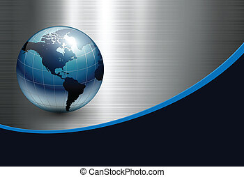 Abstract business background with blue earth world on silver...