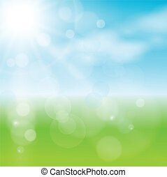 abstract background green, light and sunny , vector
