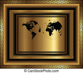 Business background gold with ornaments and world map,...