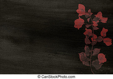 Red flower print on black coconut paper textured background