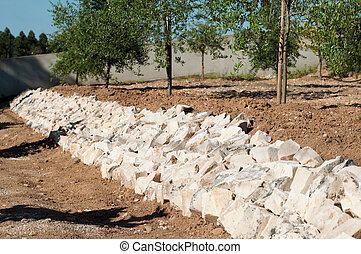 Stones barricade - stones barricade to prevent landslides on...